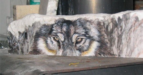 wolf on marble